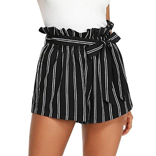 KUDICO Damen Shorts Retro Gestreifte Kurz Hose Beach Sommerhosen mit Elastischem Taillenband High Waist Sporthosen Hotpants Strandshorts(Schwarz, X-Large)