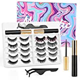 Reddhoon 10 Pairs Magnetic Eyelashes with Eyeliner Kit, 10 Magnets Premium Reusable Magnetic False Eyelashes with Tweezers Applicator, 2 Pcs Strong Magnetic Eyeliner, Easy Clean, No Glue Needed