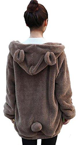 Femmes Lovely Bear Fluffy Tail, Sweats à Capuche Hiver en Peluche Lapin Queue Sweats à Capuche Sweat Veste Polaire à Manches Longues Manteaux (Coffee Bear)