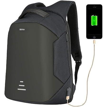 Tbag Zaino Antifurto per PC 15,6'' con Porta USB, Backpack Laptop Zainetto Impermeabile per Uomo e Donna Ideale per Scuola,Viaggio,Lavoro, Capienza Fino a 30L,HK-3 (Nero, 15,6'')