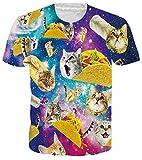 RAISEVERN Womens Mens T Shirt Taco Cat Shirts Sportswear Galaxy Printed Top Pizza Pie Tee Crew Neck Funny Short Sleeve