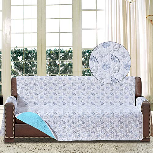 softan Sofa-Schonbezug mit Elastiken und Bändern für 4 Sitzer, Sofa Überwürfe mit Aufbewahrungstaschen,Schutz vor Haustieren, Schmutz, und Verschleiß(Viersitzer, Muschel/Grau)