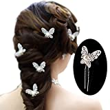 yueton Pack of 20 Butterfly Pearl Crystal Hair Pin Bride Headwear Hair...