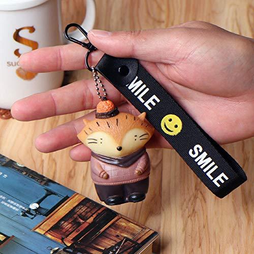 Sinzong Sleutelhanger voor dames, kleine dieren, sleutelhanger, ketting, mobiel, charm, paar geschenk, 2 stuks Fox