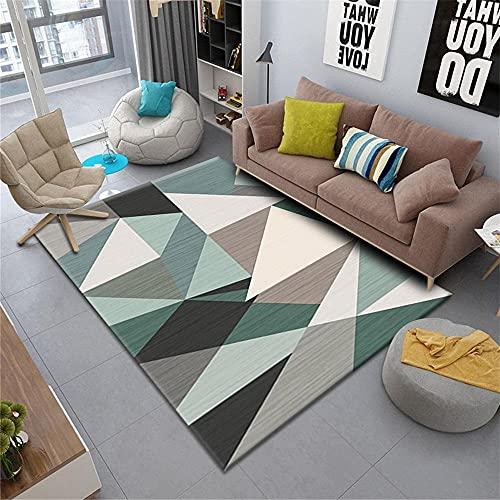 Kunsen abitacion Juvenil Dormitorio Infantil Sala de Estar Alfombra geométrica Gris Azul rectángulo Moderno Resistente al Desgaste moqueta 80X120CM 2ft 7.5' X3ft 11.2'