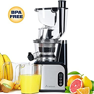 Aobosi 80MM(3.15inch)Big Mouth Whole Slow Masticating Juicer extractor,Wide Chute Anti-Oxidation Cold Pressed Juicer Extractor,Energy Saving 200W DC Heavy Duty Motor with Juice Jug and Cleaning Brush