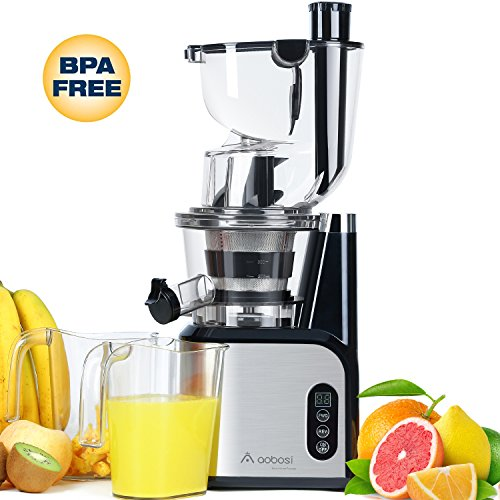 Aobosi 80MM£¨3.15inch£©Big Mouth Whole Slow Masticating Juicer extractor,Wide Chute Anti-Oxidation Cold Pressed Juicer Extractor,Energy Saving 200W DC Heavy Duty Motor with Juice Jug and Cleaning Brush