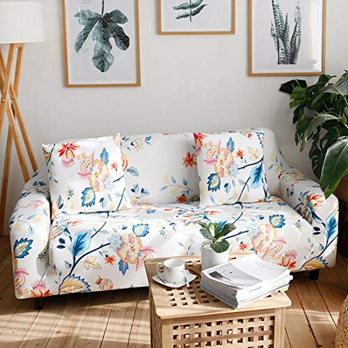 Chozan Pattern Sofa Slipcovers Stretch Printed Sofa Cover with 2 Pillowcases for 3 Seat Cushion Couch Furniture Pet Protector Spandex Cover L-Shape Available(Flowery, Sofa-3 Seater)