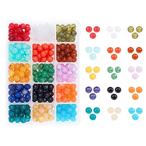 PandaHall Elite sobre 450pcs Cuentas de Acrílico de Imitación de Piedras Preciosas, Redondas, de Color Mixto, 8 mm, Agujero: 2 mm