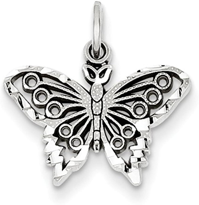 Diamond2Deal 14k White gold Butterfly Pendant