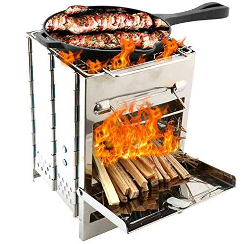 EVTSCAN Parrilla de Barbacoa Plegable de Acero Inoxidable Estufa de Barbacoa Parrilla de carbón para Acampar al Aire Libre para cocinar al Aire Libre