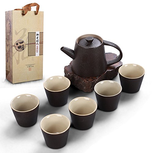 duoles chino Kung Fu Juego De Té, de cerámica hecho a mano de porcelana servicio de té chino japonés tazas de té con caja de regalo (juego de 7)