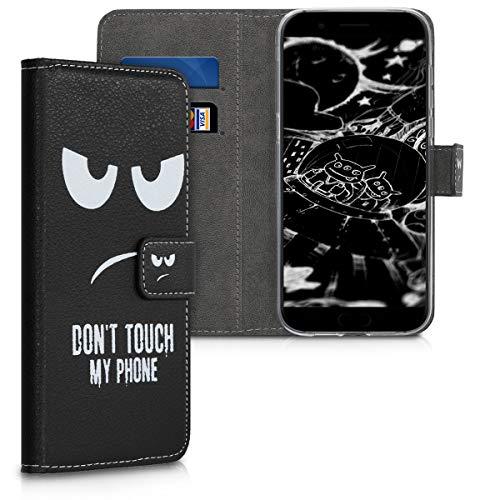 kwmobile Xiaomi Black Shark Hülle - Kunstleder Wallet Case für Xiaomi Black Shark mit Kartenfächern & Stand - Don't Touch My Phone Design Weiß Schwarz