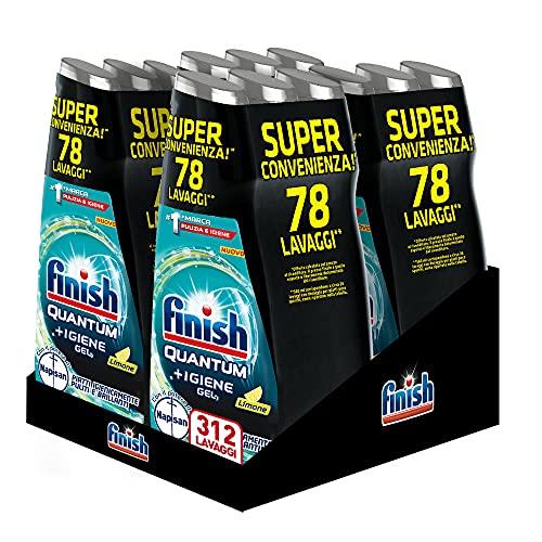 Finish Quantum - Gel limpiador para lavavajillas líquido con potencia de Napisan, multiacción, limón, 312 lavados, 12 paquetes de 26 lavados