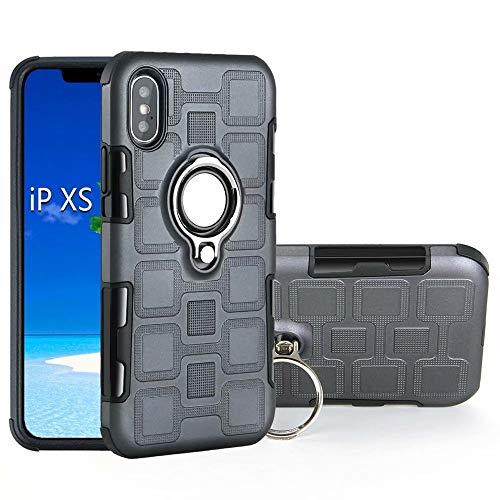 Armor - Funda de protección 2 en 1 de doble capa con soporte de anillo giratorio para el dedo con soporte de soporte magnético para coche compatible con iPhone Xr (6,1 pulgadas) (color: gris)