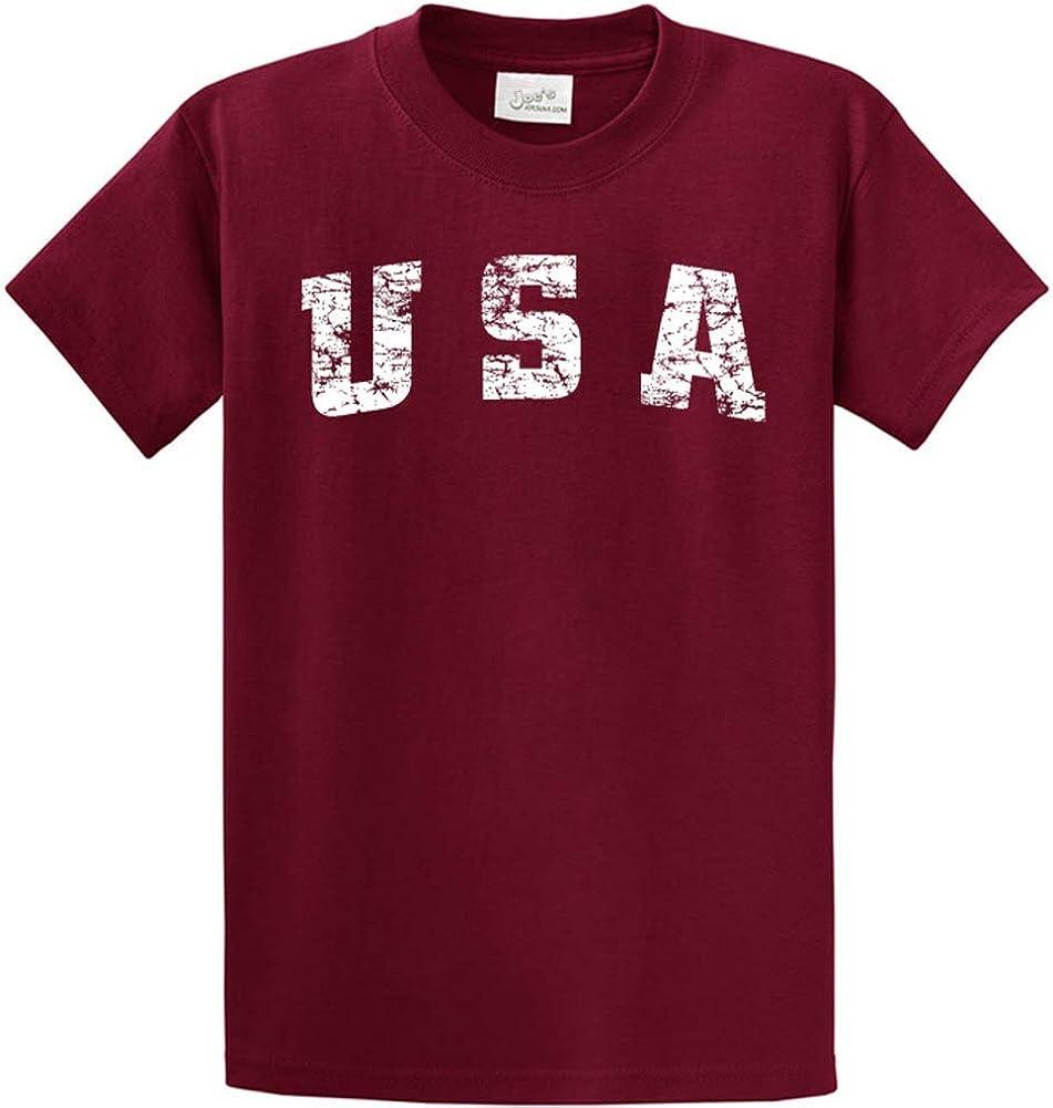 Joe's USA -Tall Vintage USA Logo Tee T-Shirts in Size X-Large Tall -XLT Cardinal