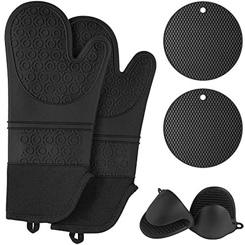 QUWIN Oven Mitts and Pot Holders Sets, Heat Resistant with Mini Oven Gloves and Hot Pads Potholders, Non-Slip Food Grade Long Oven Mitts for Kitchen Baking Cooking (6-Piece Set, Black)