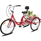 YiiYYaa Adult Tricycle Trike Cruise Bike, 24 Inch Wheel Single Speed 3...