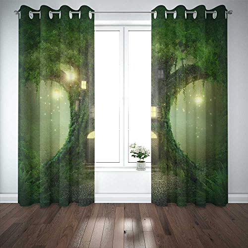 Musesh 52X63 InchCurtains2Panel Cool Window Curtains Blackout Curtain Panels Window Panel Curtains Fantasy Tree House in Door Curtain Panels for Bedroom Living Room