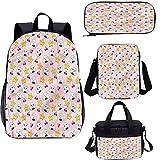 Anime 17 pulgadas mochila escolar y bolsa de almuerzo, Japón divertido patrón de comida 4 en 1 conjuntos de mochila