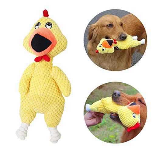 GingerUP Hundespielzeug aus Plüsch für Hunde,Kordsamt, langlebig,interaktives Spielzeug mit Geräuschentwicklung und Quietscher,Huhnform,Plüschspielzeug (Gelb)