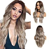 Long Wavy Ombre Brown Blonde Synthetic Wigs for African American Women Heat Resistant