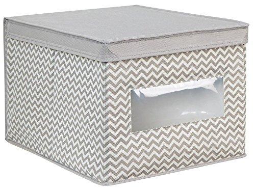 iDesign Axis Aufbewahrungsbox mit Deckel für Kleidung oder Schuhe, große Schrankbox mit Sichtfenster aus Polypropylen, taupe und natur