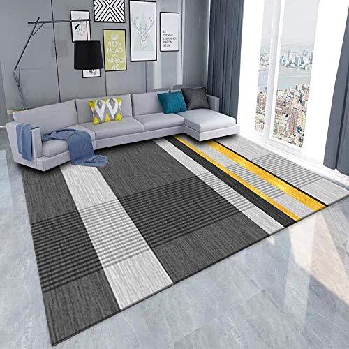 DLSM Simple línea Negra Dorada patrón Alfombra Sala de Estar Dormitorio Cocina Antideslizante sofá Cama Alfombra Decorativa Lateral-El 120x160cm