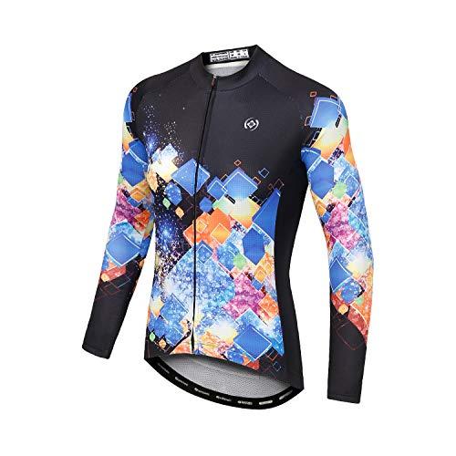 DuShow Women Cycling Jersey Long Sleeve Mountain Bike Bicycle Shirt with Pockets(Black,M)