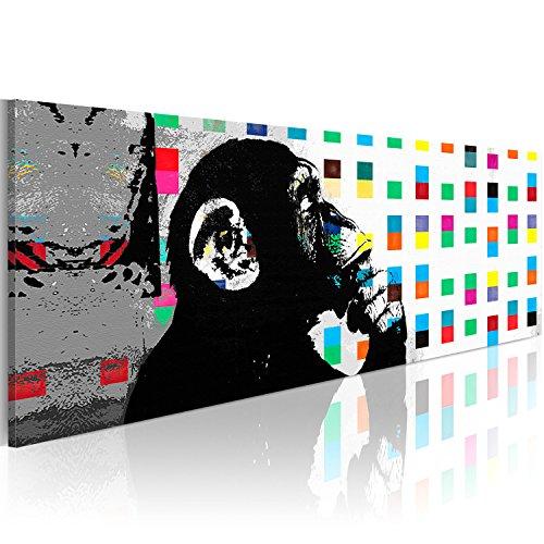 murando Cuadros Impresos en Lienzo Que Brillan en la Oscuridad 120x40 cm 1 Pieza Noche y día Cuadros de Pared Pinturas fosforescentes Lienzo de Tejido no Tejido Banksy Street Art Mono g-B-0031-ag-a