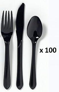 Premium Black cuchillo, cuchara y tenedor de plástico tamaño completo - juego de cubiertos desechables y pesadas (100 de cada, 300 total)