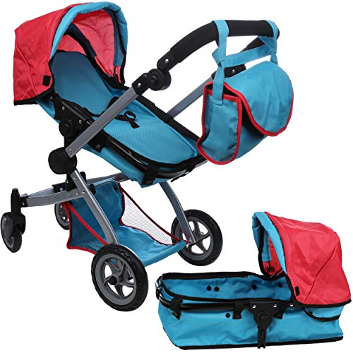 Mommy & Me Babyboo Deluxe Doll Pram with Swiveling Wheels, Adjustable Handle, and Free Carriage Bag, Red and Blue