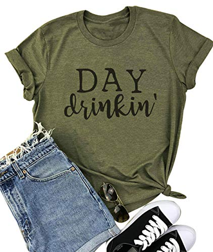YUYUEYUE Day Drinkin' T Shirts Women Drinking All Day Letter Print Short Sleeve Funny Casual Tops Tee(XX-Large,Army Green)