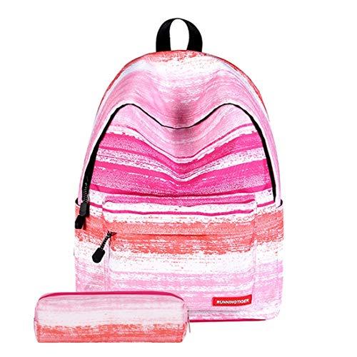 WARM home Handig Patroon Print Roze Streep Reizen Rugzak Schoudertas met Pen Bag voor Meisjes, Afmetingen: 40cm x 30cm x 17cm Vakantie Hc9909d