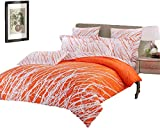 Swanson Beddings Tree Branches 3-Piece 100% Cotton Bedding Set: Duvet Cover and Two Pillow Shams (Orange-White, Queen)
