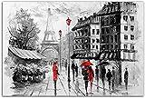Cuadros Decoracion Póster en blanco y negro Torre de la Feria de París lienzo artístico pareja caminando en un día lluvioso Cuadros artística impresa Mural de Decoracion moderna60x90cm x1 Sin Marco