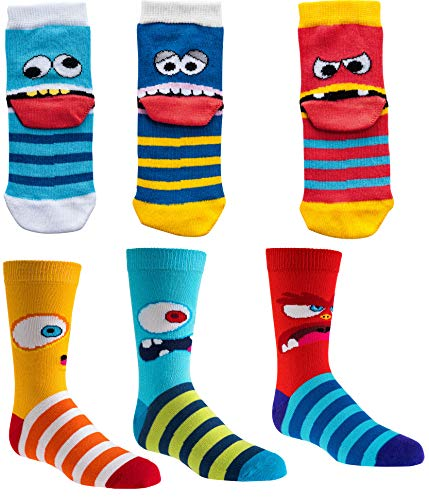 Kinder Socken, 6 Pack,31-34, Lustige Monster