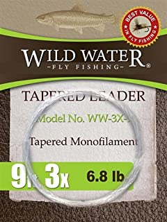 Wild Water Fly Fishing Tapered Monofilament Leader-3X, 9', 6 Pack