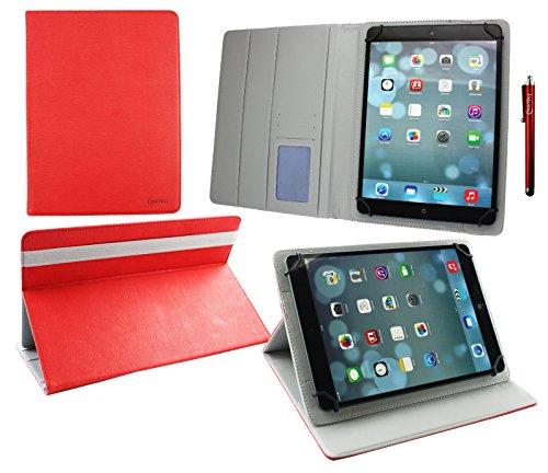Emartbuy® Archos 101 Helium Lite 4G 10.1 Zoll Tablet Universal (9-10 Zoll) Rot PremiumPULederMulti AngleExekutiveFolioGeldbörseHülle Grey InnenraummitKartensteckplätze + Eingabestift