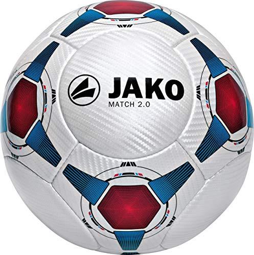 Jako Herren Fußball Ball Match 2.0, Weiß Blau/Rot, 5