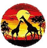 XUJINGJIE Kit de alfombras de ganchillo sin terminar para hacer alfombras de ganchillo, para manualidades, bordado, alfombra de cojín, jirafa, 50 x 30 cm, A