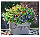 Bzuibaz Künstliche Blumen Pflanzen, 6 Bundles 6 Farben Sträucher Kunstpflanze für Draußen Haus Garten Deko, Kunstblumen für Modern Wohnzimmer Balkon Dekoration Im Vase und Topf