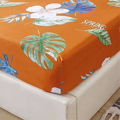 Meiju Sábana Bajera Ajustable Estampado Floral, Protector de Colchón de Microfibre Cómoda Transpirable con Elástica Bolsillo Profundo para Grueso Colchón Alto de 20 cm (Naranja,120x200+20cm)
