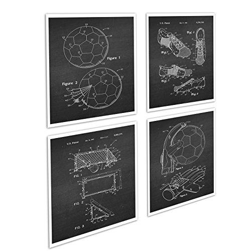 Soccer Decor / Football Decor Set of 4 Unframed Black Chalkboard Art Prints