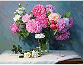 BJGCWY DIY Paintings by Numbers Peonies Flower Oil Painting On Canvas Rose Acrylic Wall Art Decor No Frame 40x50cm Y5307