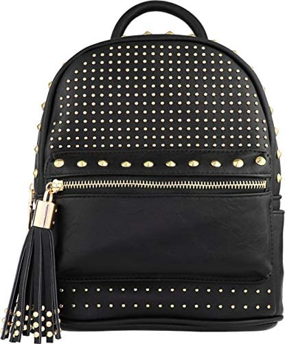 B BRENTANO Vegan Studded Multi Zipper Top Handle Mini Backpack with Tassel Accents Studded Black product image