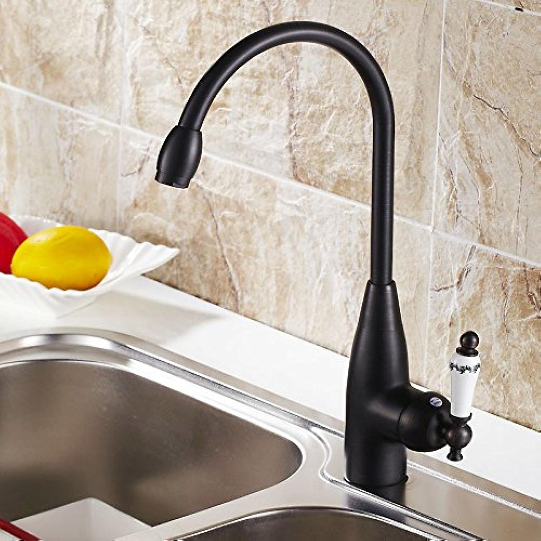 Ddlli Badarmaturen für Küchenspülen Wasserhahn Duscharmatur F6Hot und Kaltwasserhahn in der Küche European-Führende schwarz Retro Küche Warm und kalt Kupferbecken