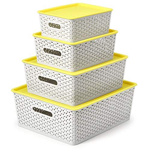 EZOWare 4er-Set Aufbewahrungsboxen/Kisten mit Deckel/Stapelboxen Kunststoff - Gemischte Größen, Hellgrau und Gelb