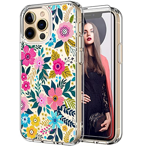 ICEDIO iPhone 13 Pro Case with Screen Protector,Slim Fit Crystal Clear Cover with Fashionable Designs for Girls Women,Protective Phone Case for iPhone 13 Pro 6.1' Cute Colorful Blooming Floral