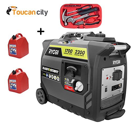 Ryobi 2,200-Watt Gray Gasoline Powered Digital Inverter Generator RYi2200GR and Toucan City tool Kit (15-Piece) and Two 5-Gallon Gas Cans